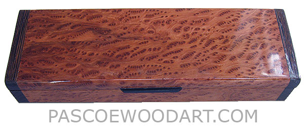 Handcrated wood box - Decorative wood weekly pill box - 7 day pill organizer made of bird's eye redwood burl with wenge ends