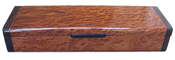 Birds eye redwood burl box front - Handmade decorative wood weekly pill box - 7 day pill organizer