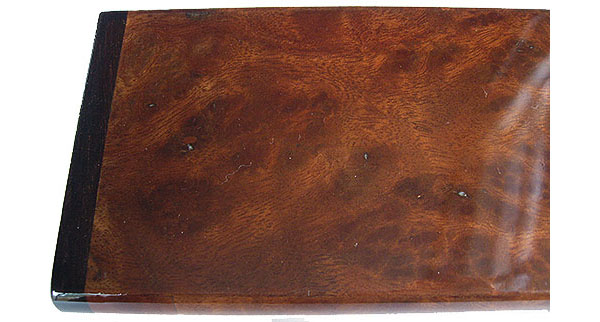Camphor burl box top close up - Handmade decorative wood weekly pill box -