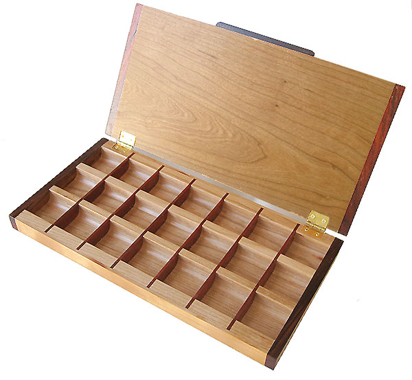 Handcrafted wood 3 times a day weekly pill organizer - Open view