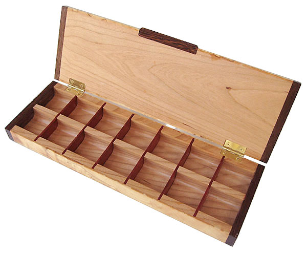 Twice a day weekly pill organizer - Handcrafted wood weekly pill box - open view