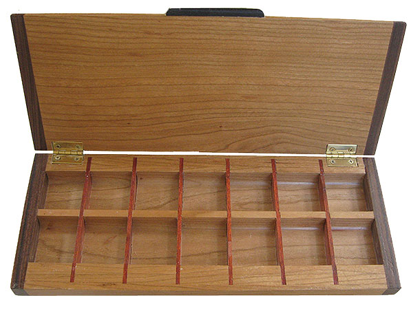 Handmade wood decorative weekly pill organizer open view