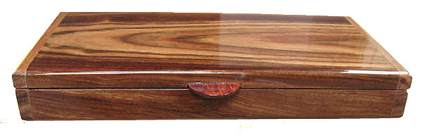 Chechen pill box front - Handmade wood twice a day weekly pill organizer