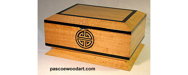 Solid Ceylon satinwood box with African ebony trim - Shou Box