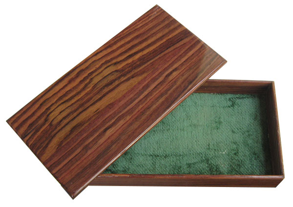 Handcrafted small wood box made of East Indian rosewood - with non-hinged top opened