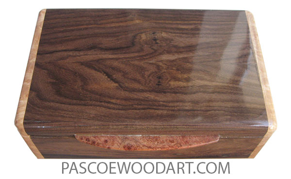 Handcrafted wood box - Small wood keepsake box made of santos rosewood with maple burl ends