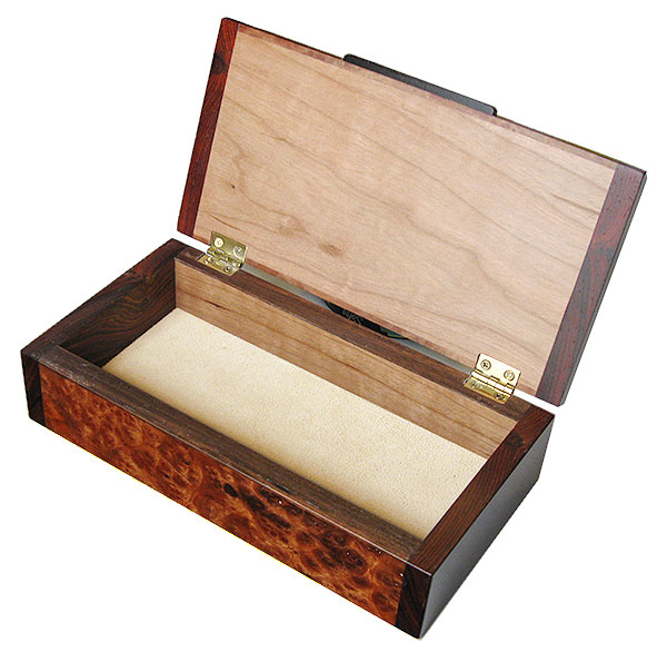 Handmade small wood box - open view