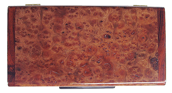 Camphor burl small wood box top - Handmade decorative small keepsake box