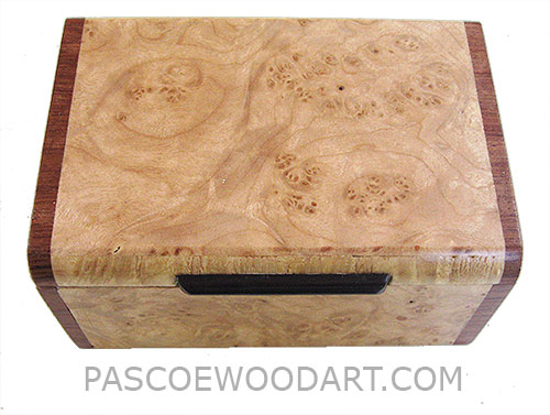 Handmade small wood box - Decorative wood small keepsake box made of maple burl with bubinga ends