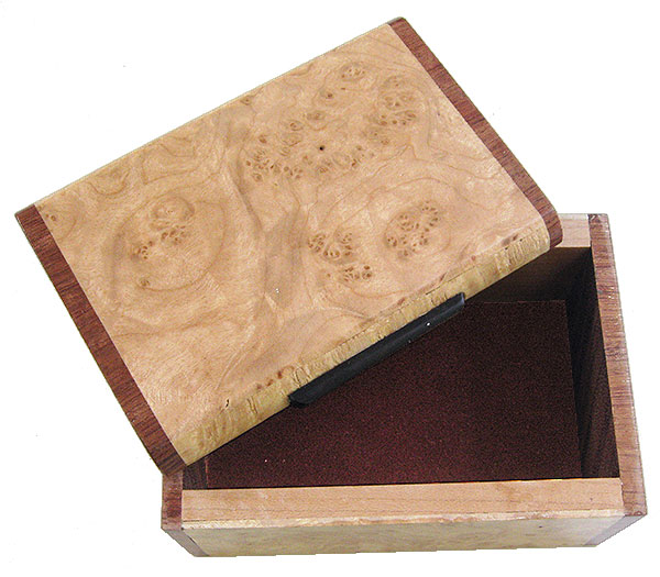 Handmade wood small box - open view
