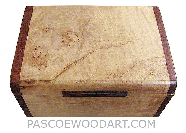 Handmade small wood box - Decorative wood small keepsake box made of burley maple with bubinga ends