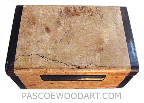 Handmade small wood box - Decorative small keepsake box made of blackline spalted mapleburl with bois de rose ends