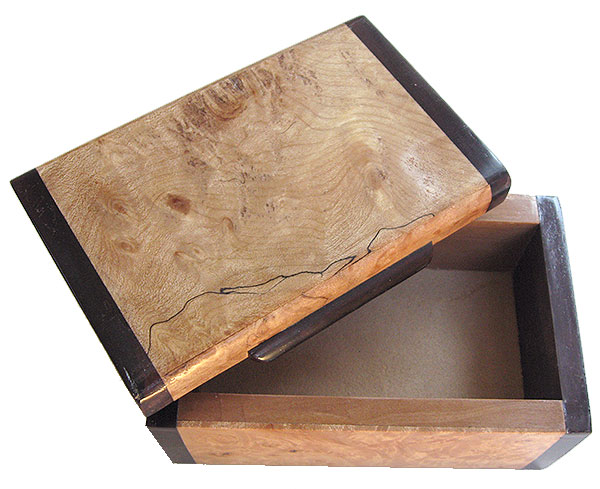 Handmade small wood box - Decorative small keepsake box - open view
