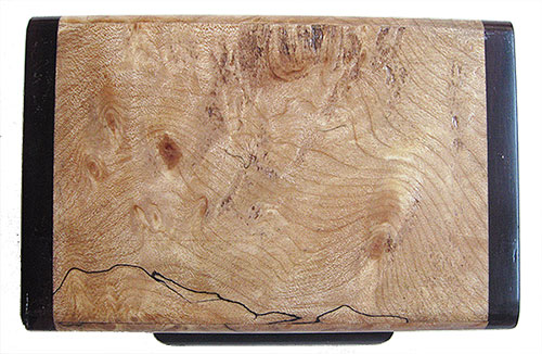 Blackline spalted maple burl box top - Handmade small wood keepsake box