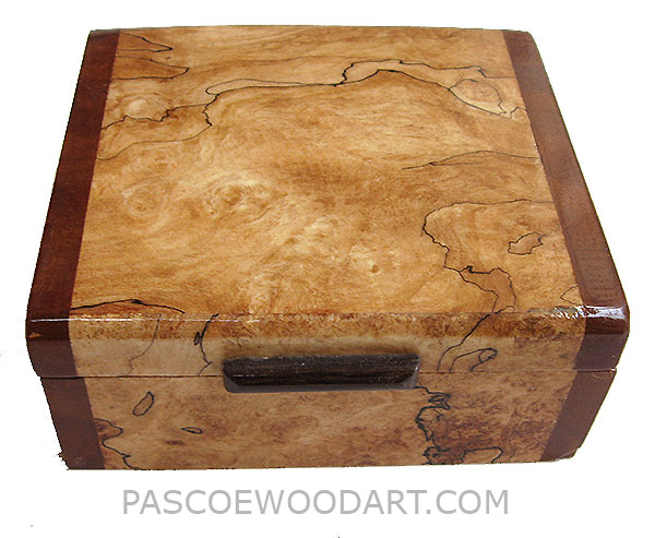 Handmade small wood box - Decorative wood small keepsake box made of blackline spalted maple burl with camphor burl ends