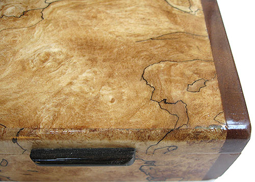 Blackline spalted maple burl box top close up - Handmade small wood box