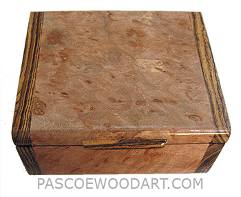 Handmade small wood box - Decorative small keepsake box made of maple burl with Santos rosewood ends