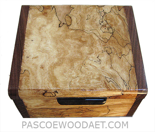 Handmade small wood box - Decorative small keepsake box made of blackline spalted maple burl with Santos rosewood