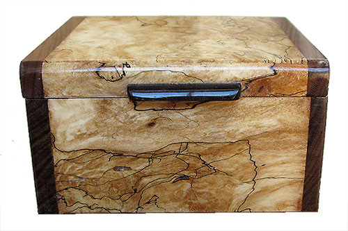 Blackline spalted maple burl box front - Handmade small wood box