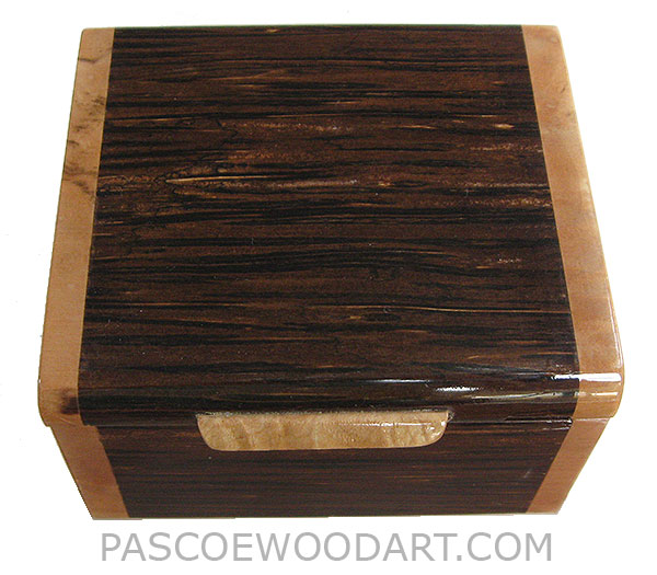 Handmade small wood box - Decorative small keepsake box made of black palm with spalted maple burl ends