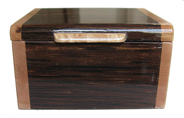 Black palm box front - Handmade small wood box, decorative small keepsake box