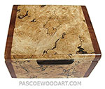 Handmade small wood box, decorative wood small keepsake box made of blackline spalted maple burl with camphor burl ends