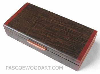 Decorative small wood box made of black palm, blood wood