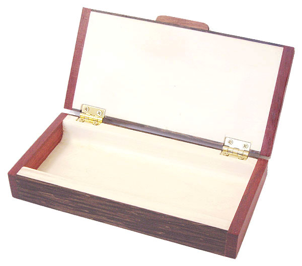 Handmade decorative small wood box - open view