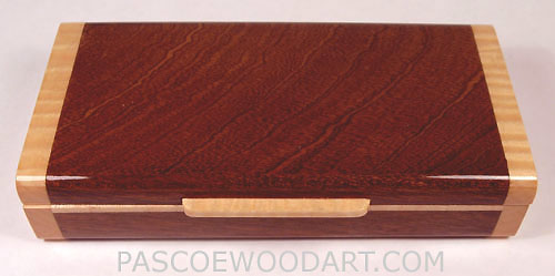 Handmade small wood box made of sapele wood with maple trim