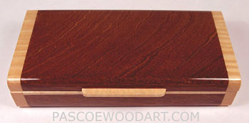 Handmade small wood box made from sapele wood with maple trim