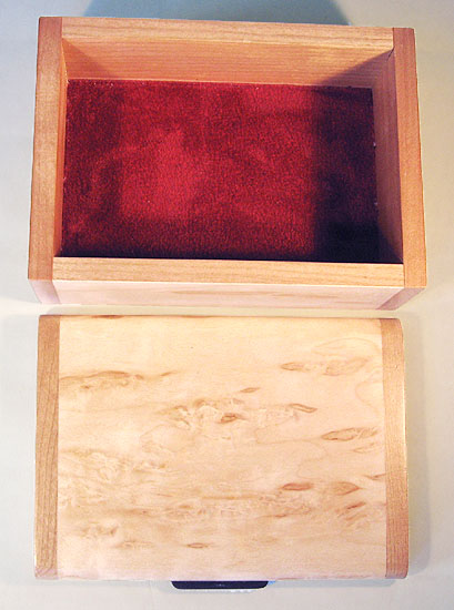 Open view - Decorative small wood box - Handmade small keepsake box made of Karelian birch burl, cherry wood