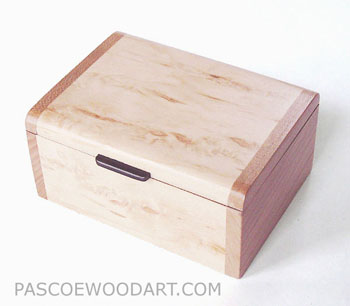 Decorative mini wood box - Handmade small box made of Karelian birch burl, cherry