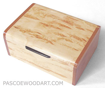 Decorative small keepsake box made of Karelian birch burl, cherry wood