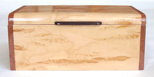 Front view - Decorative small wood box - Handmade small keepsake box made of Karelian birch burl, cherry