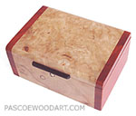 Small decorative wood box made of spalted maple burl, padauk