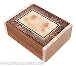 Decorative small wood keepsake box - Handmade small box made of Honduras rosewood, maple, maple burl, end grain black palm