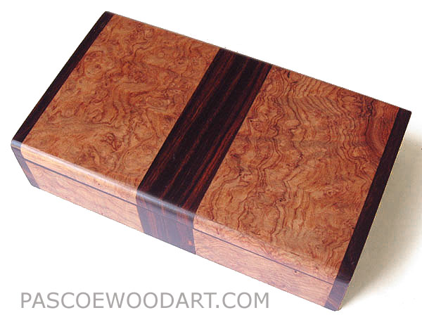 Decorative wood small keepsake box made of amboyna burl, cocobolo