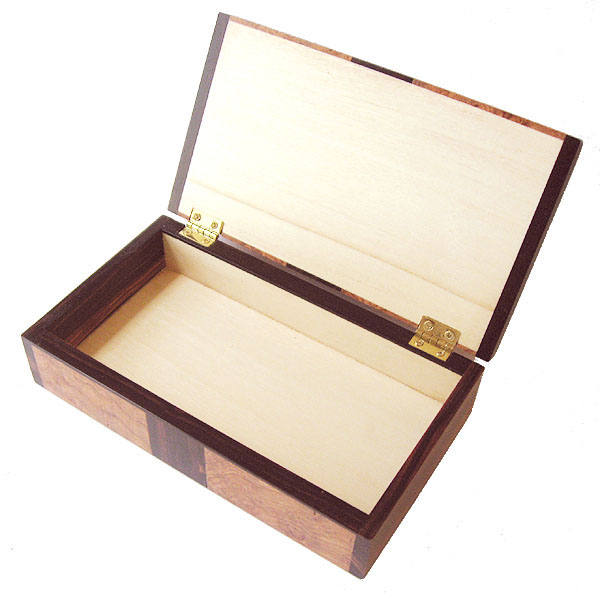 Small keepsake box open view - Handmade small  wood box