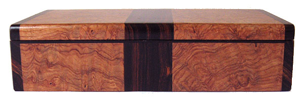 Handmade wood small keepsake box front view - amboyna burl, cocobolo