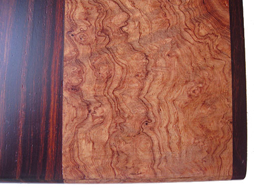 Amboyna burl, cocobolo decorative wood box close up