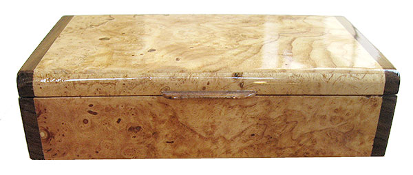 Decorarive small wood box - front view - spalted maple burl