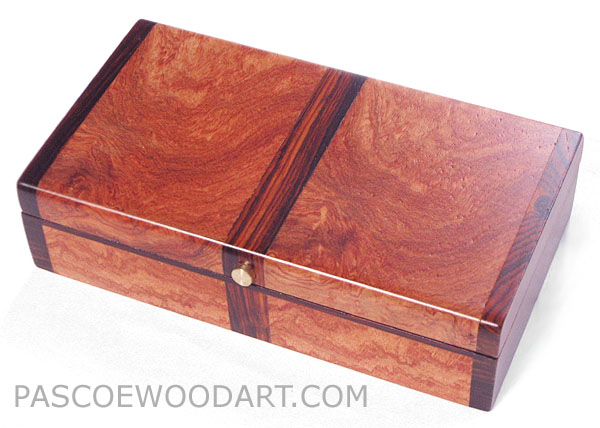 Decorative wood small box made of amboyna burl, cocobolo