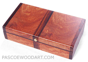 Decorative small box made of amboyna burl, cocobolo