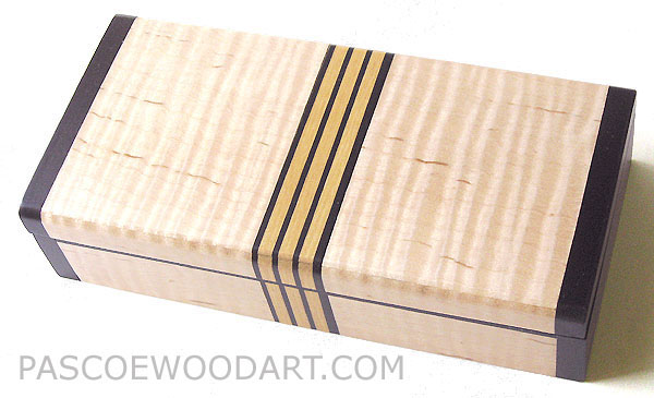 Decorative wood small wood box made of fiddle back maple with ebony ends