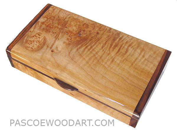 Handmade small wood box made of burly-curly maple with Indian rosewood ends