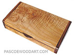 Handmade small wood box made of burly-curly maple with Indian rose wood ends