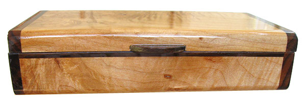 Handmade small wood box - Burly-curly maple front view