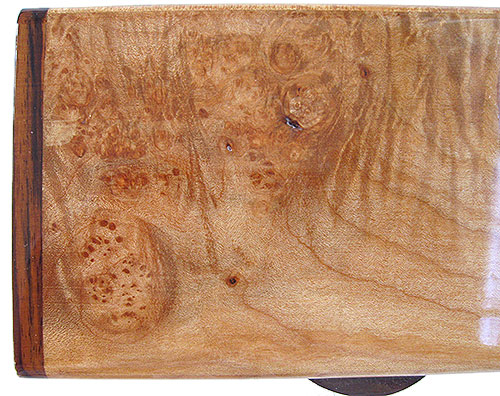 Burly-curly maple box top closeup - Handmade small wood box