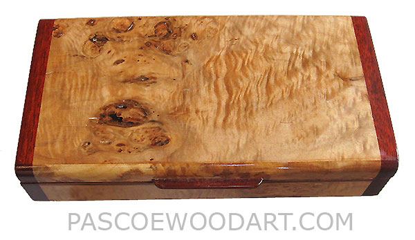 Handmade small wood box - Decorative wood small box made of highly figured maple burl with bloodwood ends