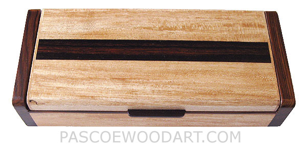 Handcrafted wood desktop box, decorative wood pen box made of spalted maple, cocobolo